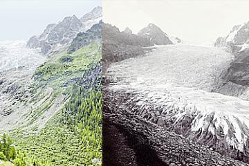 Recul des glaciers - Glacier du Trient en 100 ans
